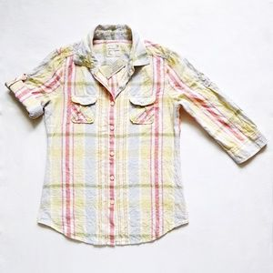 3/4 Sleeve Linen/Cotton Plaid Button Down Shirt S